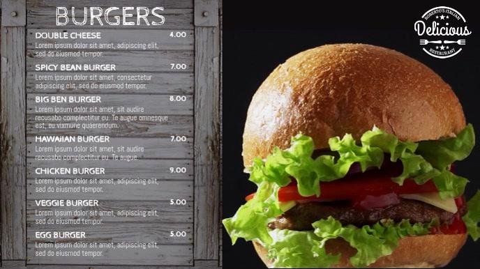 Burger Restaurant Menu Video Template