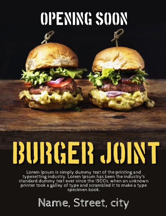 Burger restaurant opening soon Flyer (US-Letter) template
