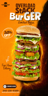 Burger Rollup Ads 易拉宝 3' × 6' template