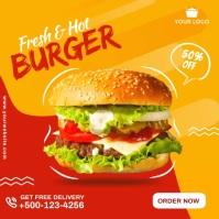 Burger social media post.. Publicación de Instagram template