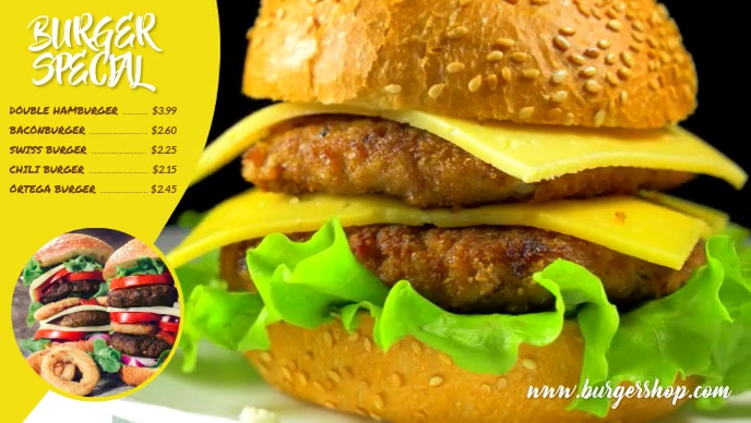 Burger special Facebook-omslagvideo (16: 9) template