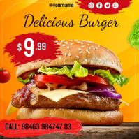 Burger template โพสต์บน Instagram