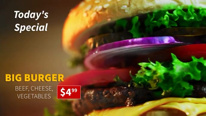 Burger Today's Special Menu Digitale display (16:9) template