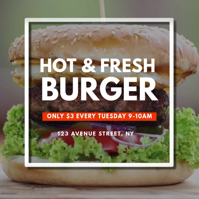Burger Video AD Design Template 方形(1:1)