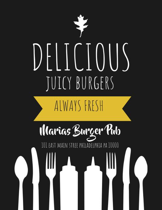 burgers Folheto (US Letter) template
