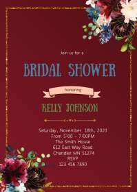 Burgundy flower bridal shower party tem