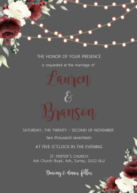 Burgundy flower gray wedding invitation A6 template