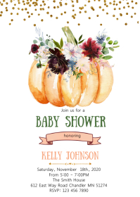 Burgundy flower pumpkin invitation