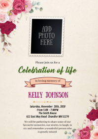 Burgundy funeral theme invitation A6 template