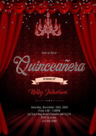 Burgundy Silver masquerade Quinceanera A6 template