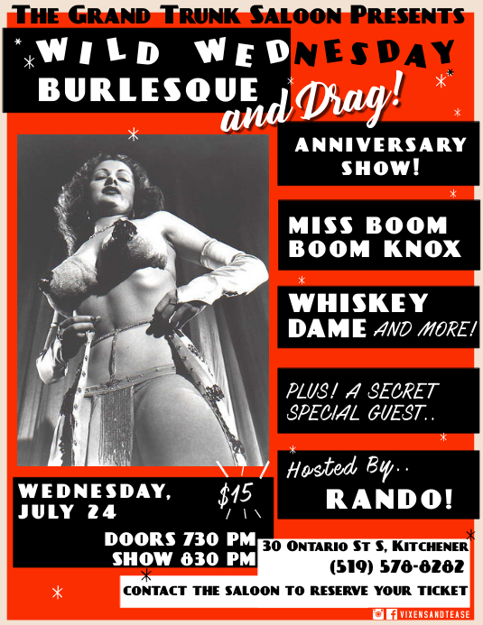 Vintage Burlesque Flyer Volante (Carta US) template