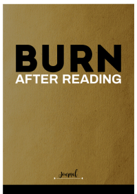 Burn after reading notebook cover