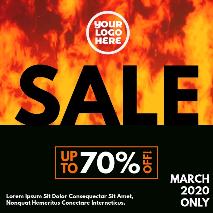 Burning Fire Sale Square Video Ad