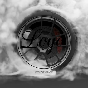 BURNOUT TYRE CAR RACE logo design Template