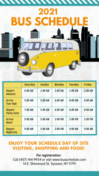 Bus Schedule Travel Digital Display Template