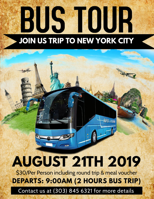 bus tour flyer template postermywall