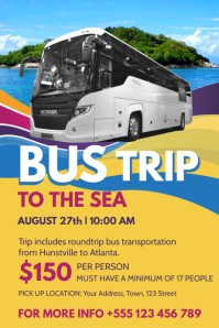 Bus Tour To Sea Flyer Template