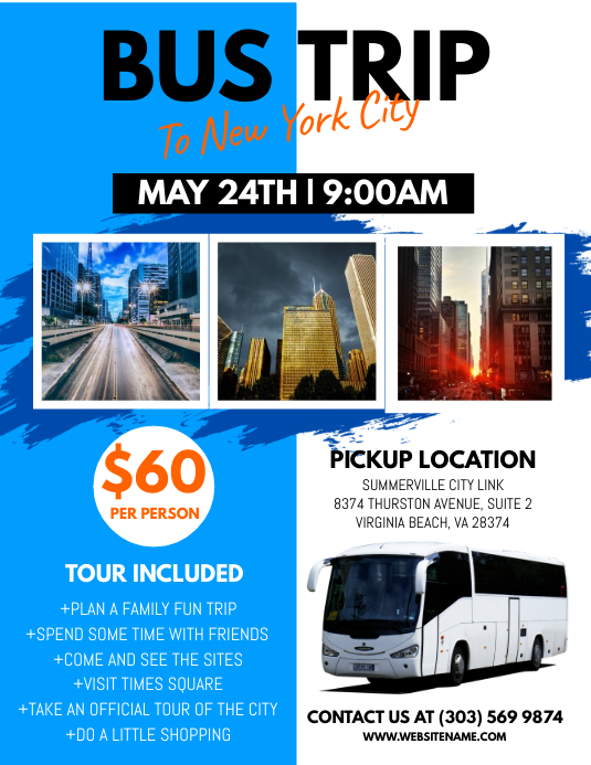 Bus Trip Flyer Template Postermywall