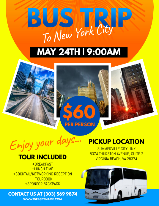 Bus trip flyer template postermywall bus trip flyer customize template pronofoot35fo Choice Image