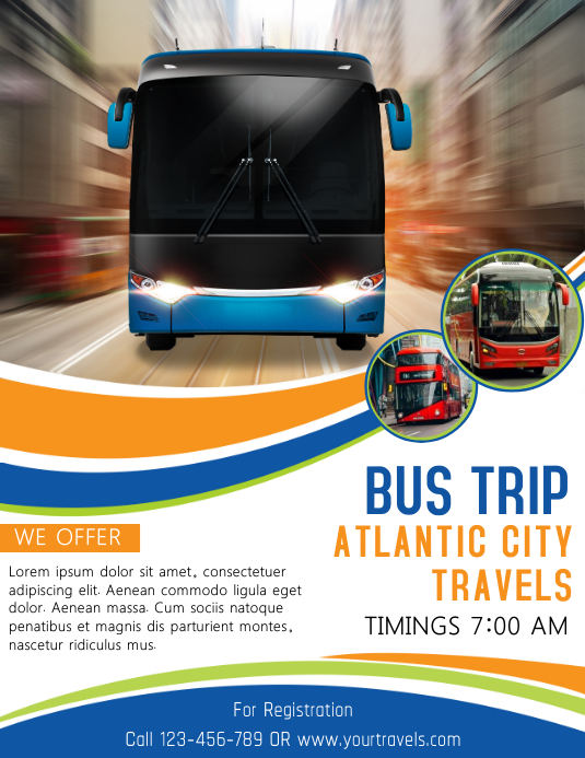 bus trip to atlantic city flyer template