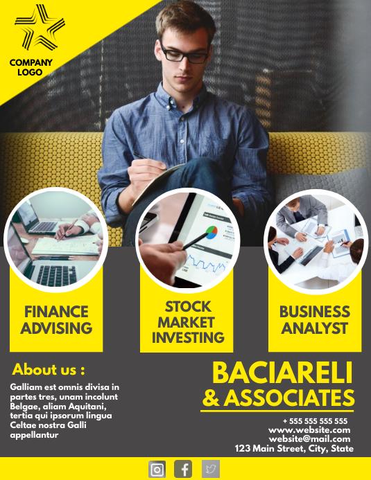 Business and finance investing flyer template Løbeseddel (US Letter)