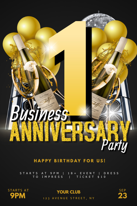 Business Anniversary Party Flyer template