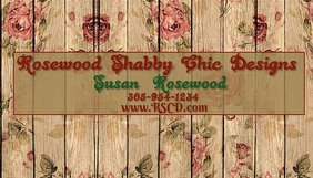 Business Card 4 Rose Wood Background