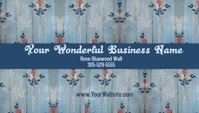 Business Card 6 Blue Rosewood Wall template
