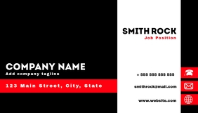 Business card black white and red
