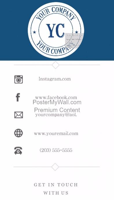 Business Card Template Blue Logo Contact