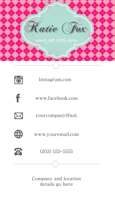 Business Card Communication Pink Facebook Instagram Template Postermywall