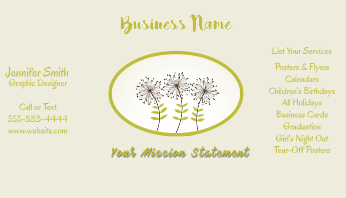 Business Card Dandilions