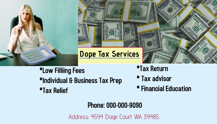 Business card for Tax template