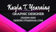 Business card graphic design pink freelancer