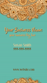 Business Card Indian Paisley Turquoise