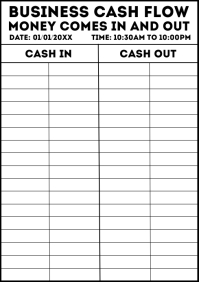 Business Cash Flow Work Sheet Template A4