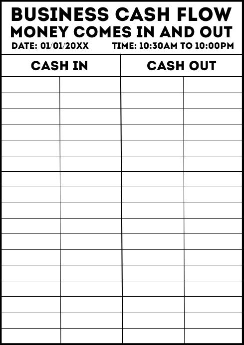 Business Cash Flow Work Sheet Template A4