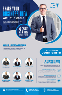 Business Conference Flyer Kalahating pahina na Wide template