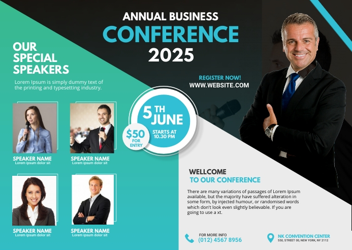Business Conference Flyer Postcard template
