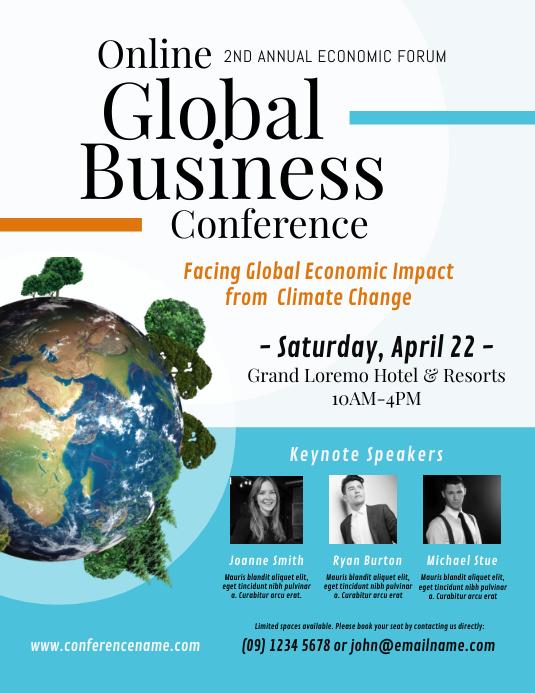Business Conference Flyer or Poster Løbeseddel (US Letter) template