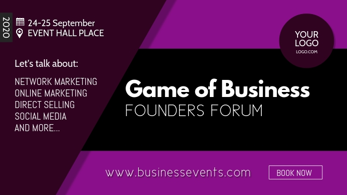 Business Conference Founders Forum Congress Video Sampul Facebook (16:9) template