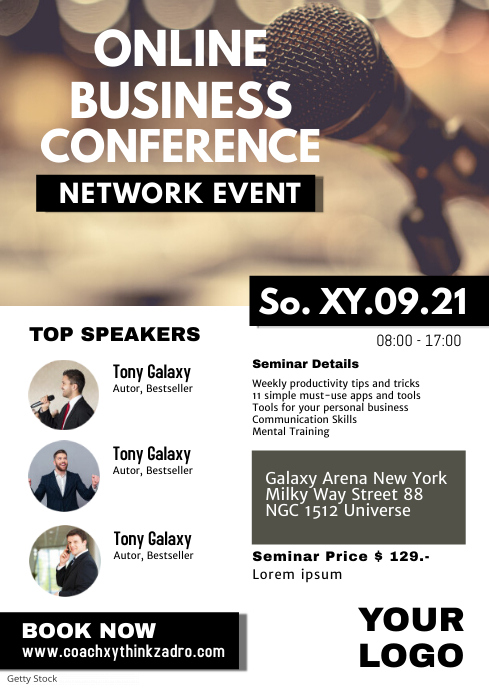 Business Conference Network Event Business Ad A4 template