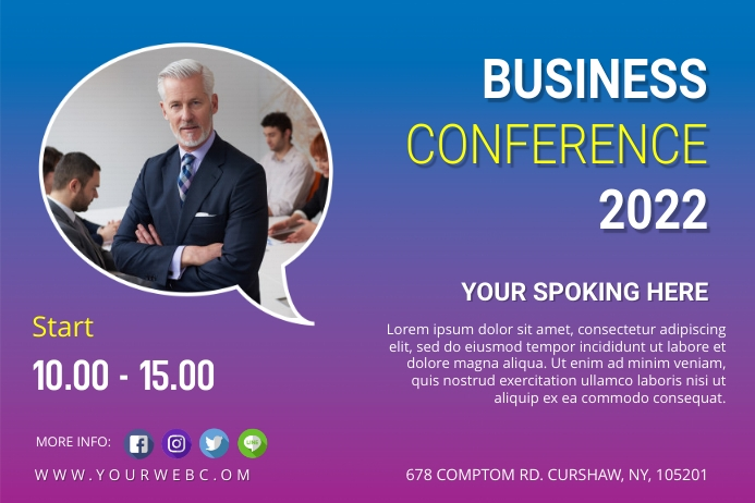 Business conference post Rótulo template