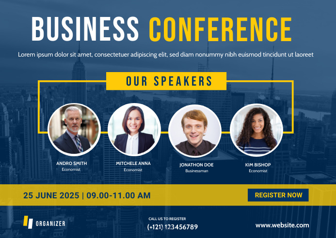 Business Conference Postcard Banner Template