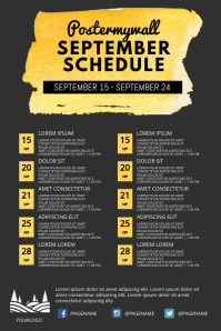 business event monthly schedule Poster template