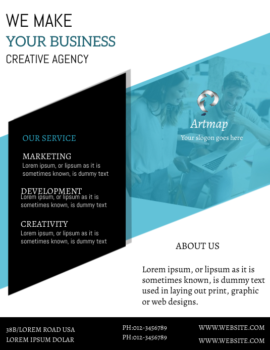 BUSINESS FLYER Рекламная листовка (US Letter) template