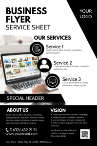 Business Flyer Services About Us Vision Sheet Affiche template