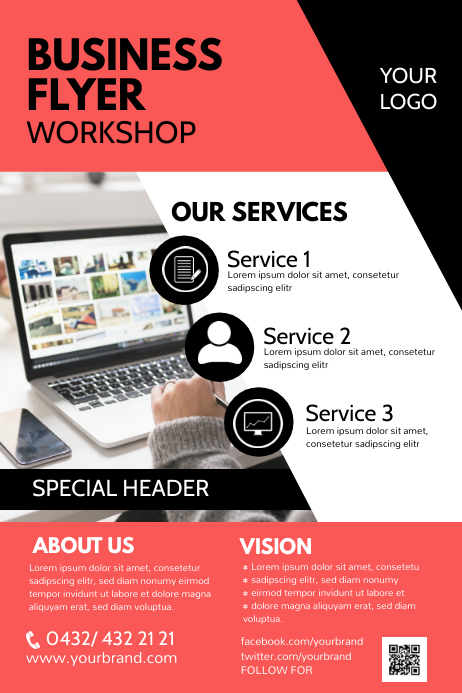 Business Flyer Services Offer Info Poster Ad