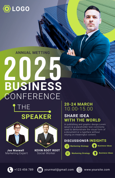 business flyer template ความกว้างแบบครึ่งหน้า