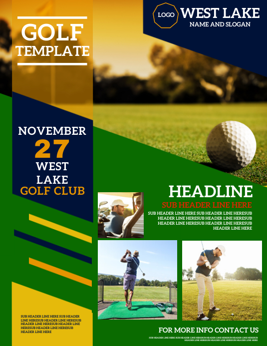 BUSINESS GOLF EVENT FLYER TEMPLATE Ulotka (US Letter)